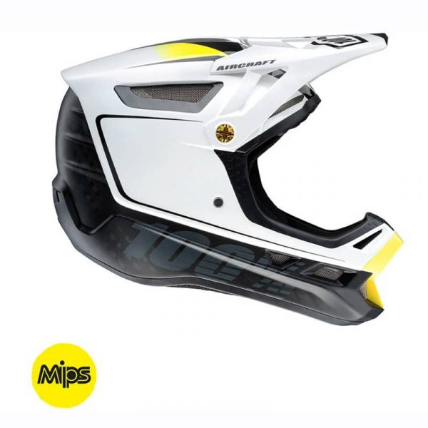 100% AIRCRAFT DOWNHILL HELMET WITH MIPS (BI-TURBO WHITE)